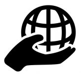 Globe On Hand Icon In Trendy Design Style. Globe On Hand Icon Is